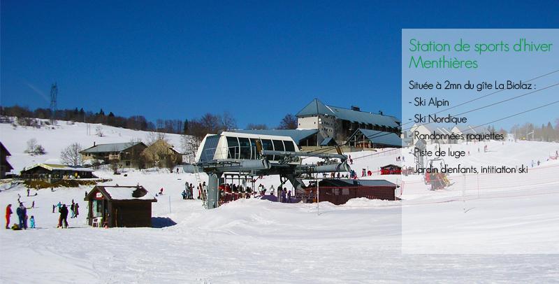 activité station de ski à La Biolaz chambre d'hôtes
